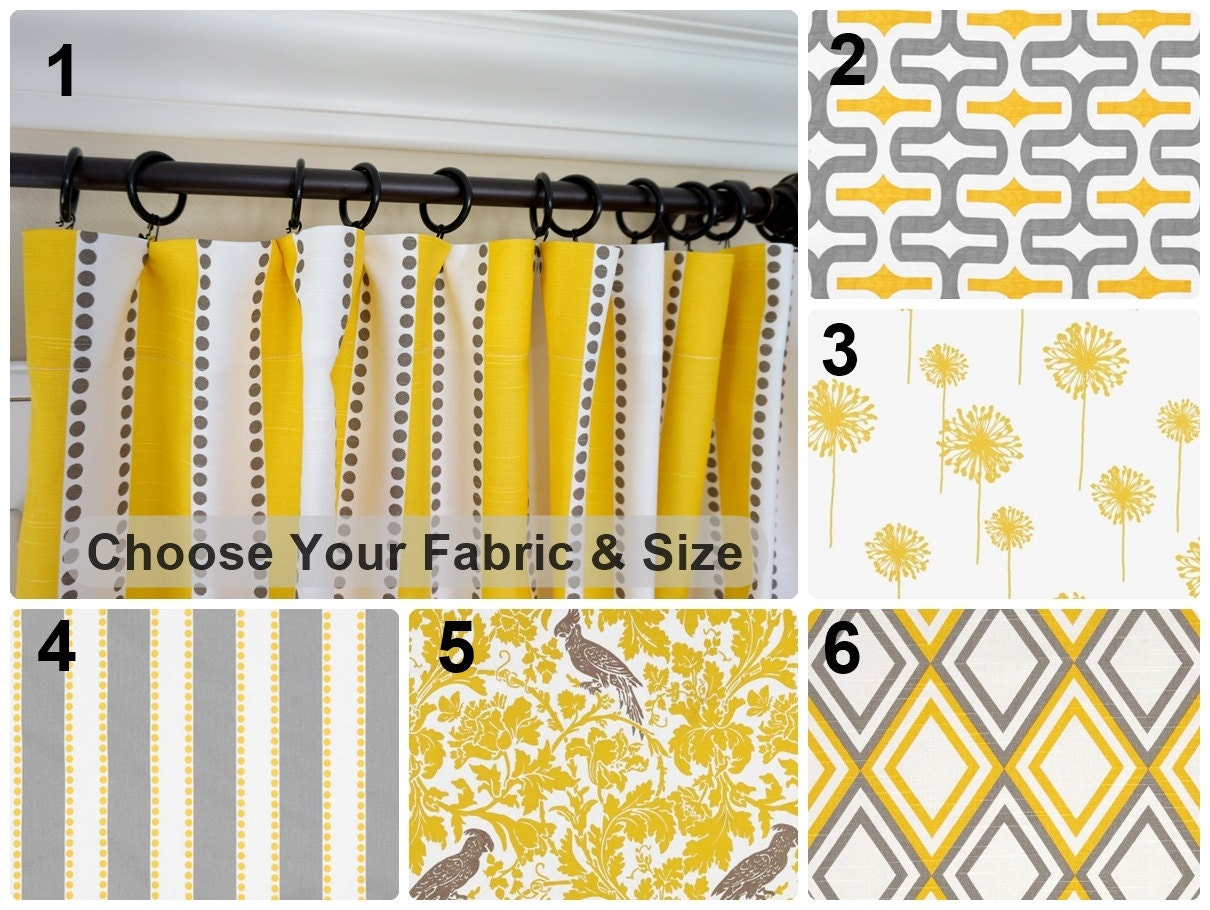 Grey and yellow curtains