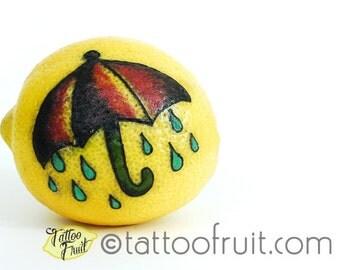 8x10 Rainy Day Umbrella Tattooed Lemon Print