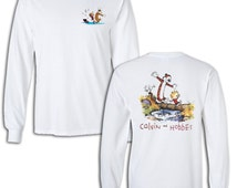 Calvin and Hobbes T-shirt C&H comics fan  Long Sleeve Sleeved shirts Youth Adult sizes