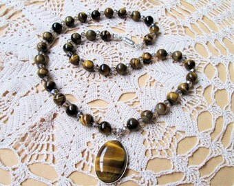 Unique Handmade Tiger Eye Beads Necklace