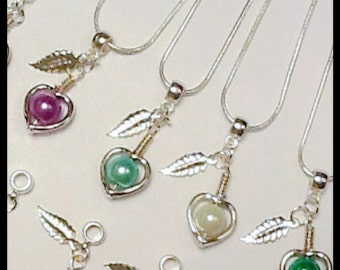 Twelve Colours Silver Pearl Heart Necklace Handmade by Emerald Forest Designs
