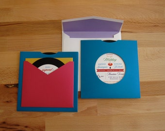 "5"" square Mutli-color, Record Invitation"