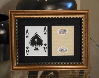 Golden Nugget Las Vegas 5x7 Blackjack Spades Authentic Playing Card Display FRAMED 0216