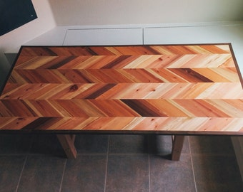 redwood and walnut chevron dining table