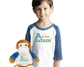 Customized Name T-Shirt With Matching PlushMonkey Gift Set Personalized Toddler Initial Shirt