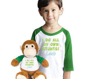Customized Name T-Shirt With Matching XL Plush Monkey Gift Set Personalized Toddler Shirt Stuntman