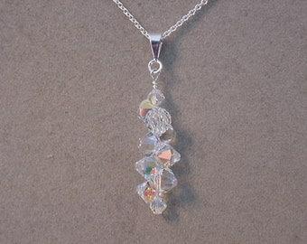 SWAROVSKI Crystal AB Pendant Necklace Choice of Colors Swarovski top drilled Crystal Necklace Prom Necklace