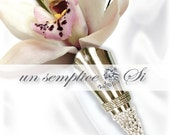 Boutonniere Lapel Pin, Men's Flower Holder Pin, Swarovski Crystal