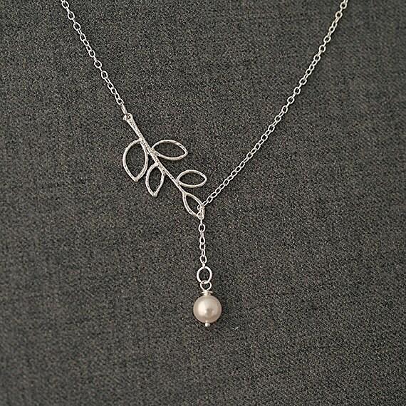 Lariat Birthstone Pendant Swarovski Pearl Necklace. Branch Lariat Necklace.