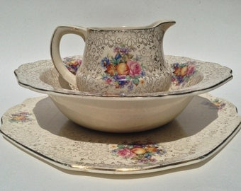 H K Tunstall English Chintz Plate, Milk Pitcher and Vegetable Server