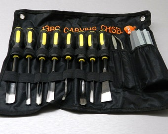 13 pc wood carving set hand tools chisel kit carvers wood working in cloth pouch