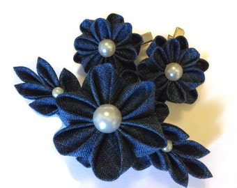Blue Denim Hair Clips Barrette (set of 3 pcs). Kanzashi. Denim flowers.