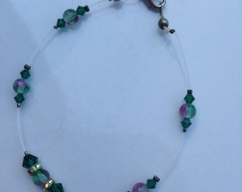 Green and purple beaded anklet. Green anklet. Purple Anklet. Beaded anklet. Anklet. TBFB0210