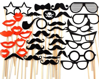 Sale !!! DIY 38 Photo Booth Props Photobooth prop On a Stick Mustache Moustache Party Little Man Gender Reveal Bash Weddings