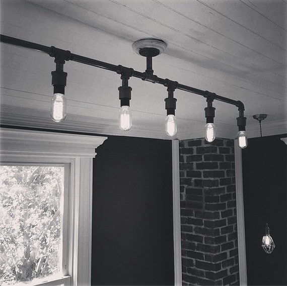 Vintage iron pipe chandelier 6 lights for Black iron pipe lights
