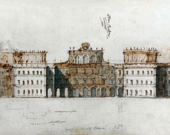 Project for Palace or villa - Elevation c1700 anonymous architectural drawing AD7-130