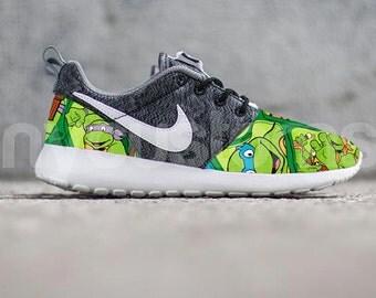 Nike Roshe Run Grey Turtle Cartoon V5 Edition Custom Kids