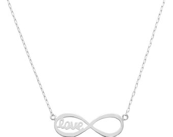 14K White Gold Love Forever Infinity Necklace - Style 1