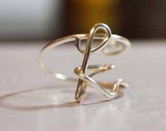 "initial ""k"" wire wrapped ring"