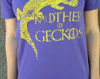 Women's Purple and Yellow V-neck Mother of Geckos GOT inspired Tshirt