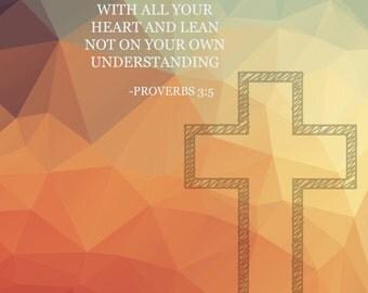 Digital Download Inspirational Religious Scrapbook Paper- Proverbs 3:5