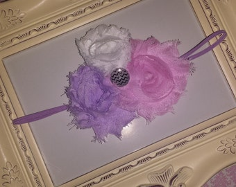 Pink, Lavendar, and White Shabby Chic Headband on skinny elastic headband with a chevron button