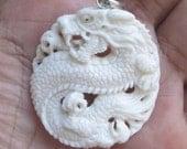 Round dragon buffalo bone pendant Bali carving w/ silver hanger 2860 40x38 mm