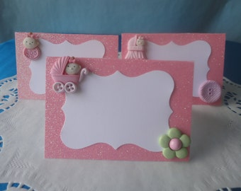 Girl Baby Shower Food tents/ Place Cards Set of 6