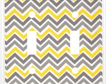 Chevron zig zag Design Yellow and Gray Light Switch Cover Plate or Outlet   Home Decor  Free Shipping to U.S.!!!