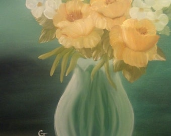 Yellow Roses - 16 X 20 Canvas painting in Oil