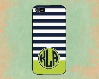 Monogram iPhone 5 Case Navy Green Stripe iPhone 5S Case iPhone Case iPhone 4 Case iPhone 5C Case Personalized iPhone 5 Case
