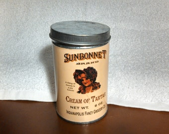 Vintage Tin Container, Reproduction Label Sunbonnet Cream of Tartar