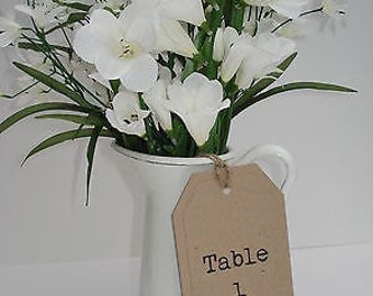 1 Rustic/vintage/shabby chic style table number tag with typewriter font