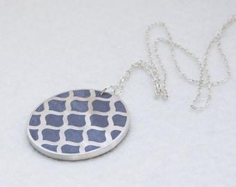 Long Silver Pendant Necklace, Silver Mesh Necklace, Modern Concrete Necklace