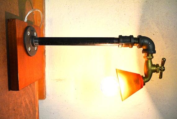 Industrial faucet plumbing pipe table lamp for Gas pipe desk lamp