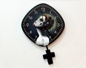 Day of the Dead Sugar Skull Catrina Calavera Makeup  - Pendulum Wall Clock