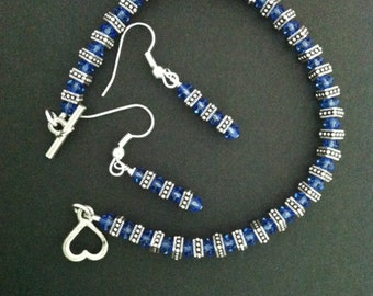Blue Sapphire Swarovski Crystal Bracelet & Earrings