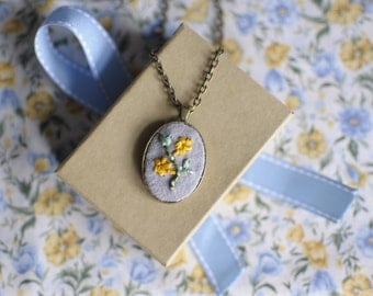Yellow Jasmine Embroidered Pendant Necklace Victorian Language of Flowers .Grace and Elegance.