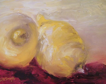 Lemons,  oil painting of lemons with off white frame, soft and rich tones of lemons together with the red fabric undertone