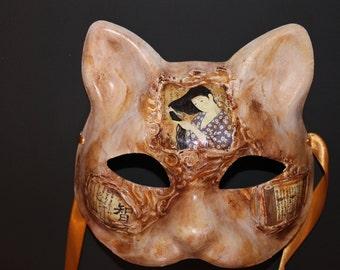 Cat mask Geisha with kanji. brown, tan, and white