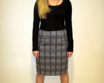 Houndstooth Pencil Skirt made from Stretch Cotton Sateen featuring centre back kick pleat.
