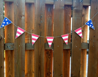 Stars and Stripes American Paper Pennant Banner