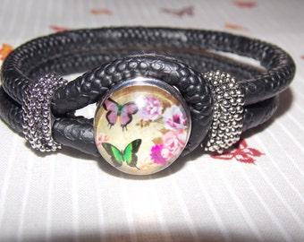 Bracelet black rope with pressure