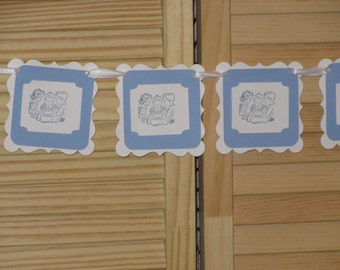 Birthday Party Banner, Blue Birthday Banner, Boys Birthday Party Banner, Hand Made Garland