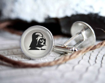 Star wars Darth Vader cufflinks, cool gifts for men, wedding silver plated or black cuff link