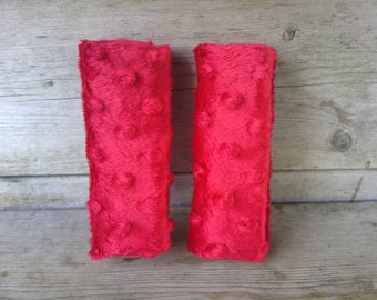 Red Minky Infant/Toddler Car Seat Strap Covers - Reversible