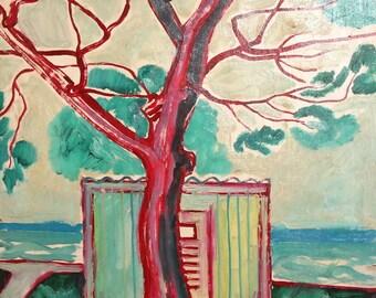1973  Expressionist Landscape Vintage Oil Painting