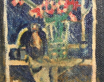 1981 Oil painting still life with flowers Signed