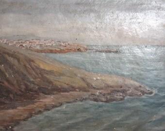 Vintage Impressionist  oil painting landscape seascape