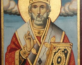 Orthodox Hand Painted Tempera/Wood Saint Nicholas Icon